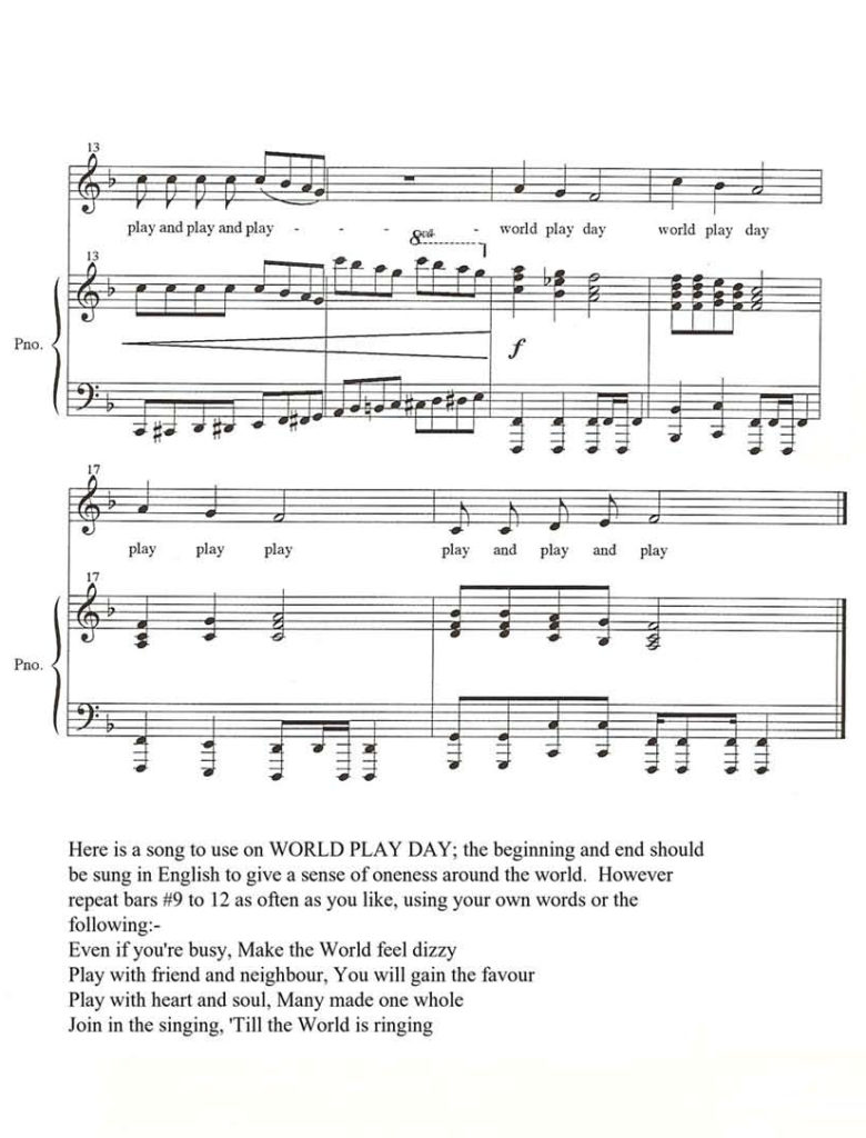 World Play Day Song score 2